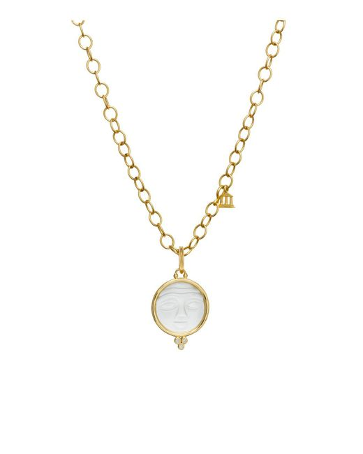 Temple St. Clair | Metallic 18k Yellow Gold Moonface Pendant With Carved Rock Crystal And Diamond Granulation | Lyst