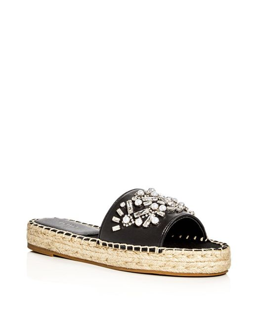Botkier | Black Jin Embellished Espadrille Slide Sandals | Lyst