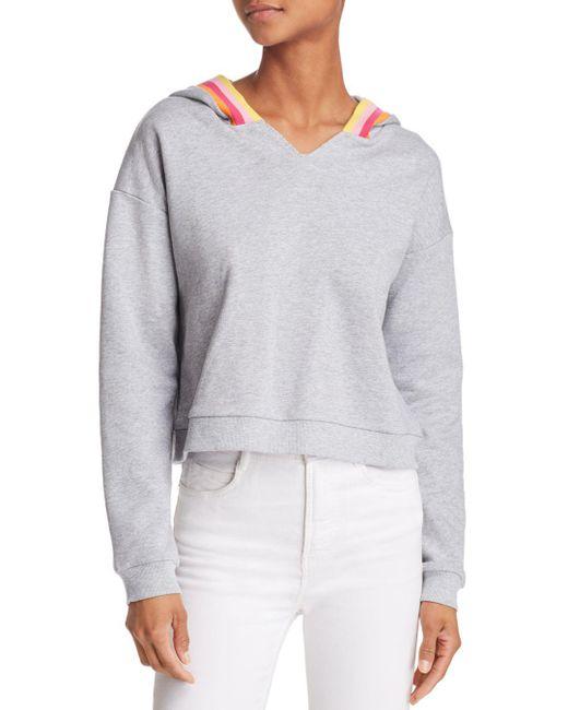 Honey Punch - Gray Rainbow-stripe Hooded Sweatshirt - Lyst