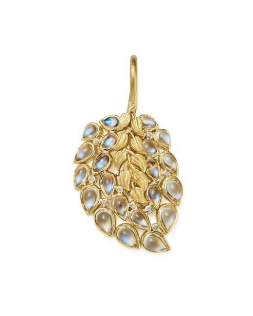 Temple St. Clair - Metallic 18k Yellow Gold Diamond And Moonstone Feather Pendant - Lyst