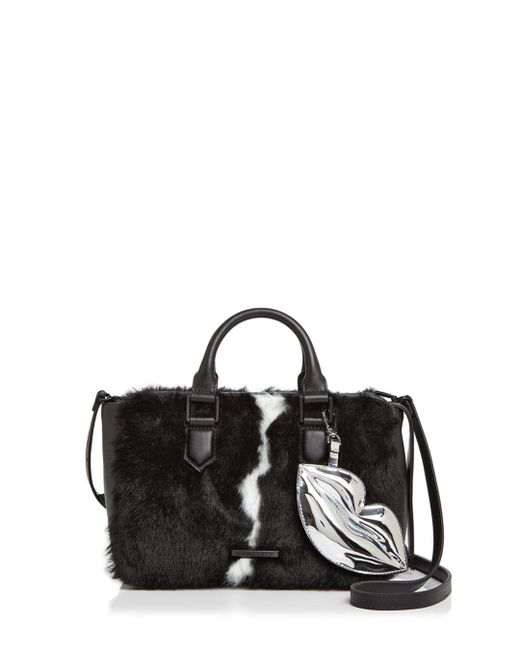 Kendall + Kylie - Black Kendall And Kylie Claire Leather & Faux Fur Satchel - Lyst
