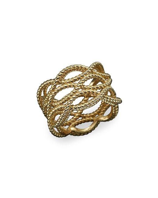 Roberto Coin   Metallic 18k Yellow Gold Triple Row Twisted Ring   Lyst