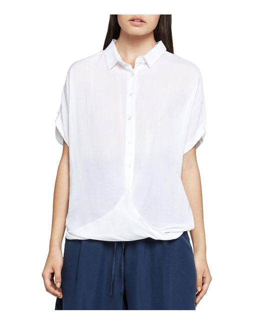 BCBGeneration | White Solid Button-down Front-tuck Shirt | Lyst