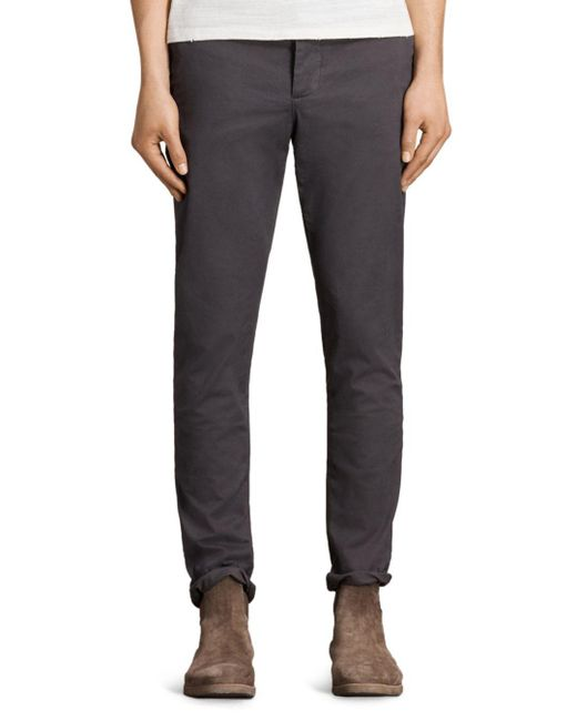 AllSaints - Gray Park Slim Fit Chinos for Men - Lyst