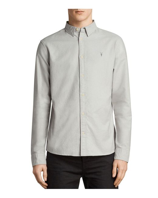 AllSaints - Gray Huntingdon Slim Fit Button-down Shirt for Men - Lyst