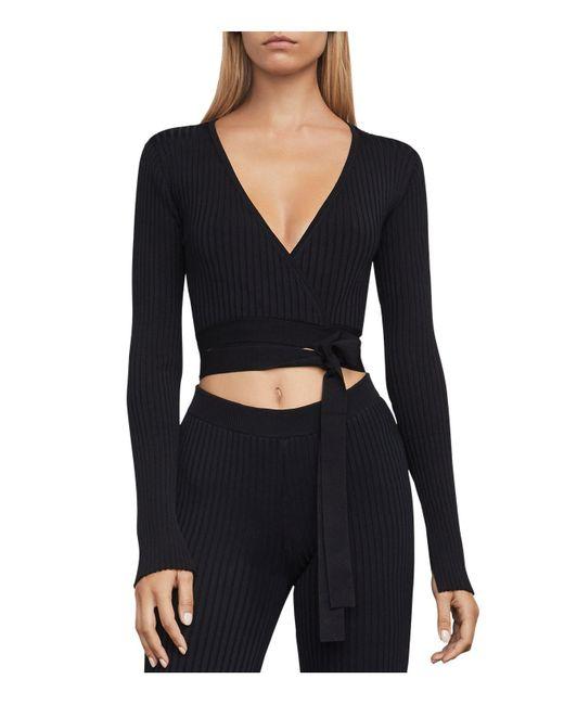 BCBGMAXAZRIA | Black Emily Knit Wrap Crop Top | Lyst