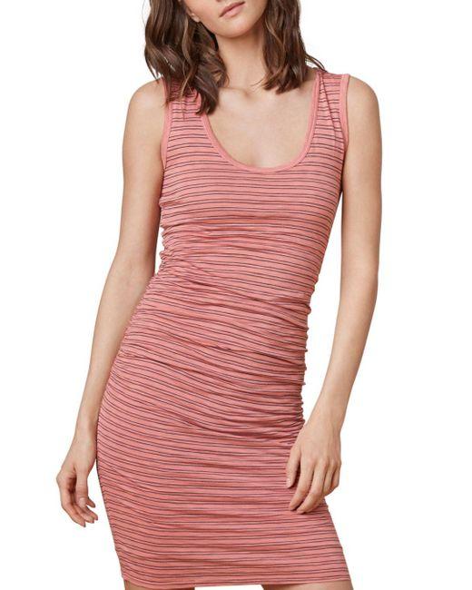 Velvet By Graham & Spencer - Pink Genisa Striped Ruched Tank Dress - Lyst