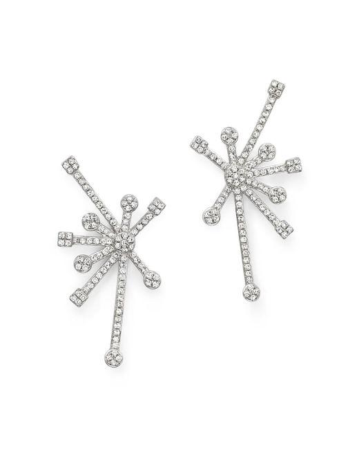 KC Designs   Diamond Starburst Earrings In 14k White Gold   Lyst