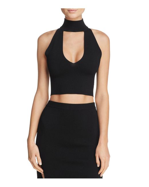Olivaceous | Black Cutout Cropped Top | Lyst