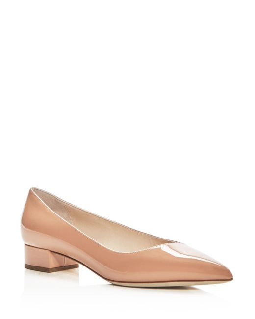Giorgio Armani - Natural Women's Patent Leather Pointed Toe Low Heel Pumps - Lyst