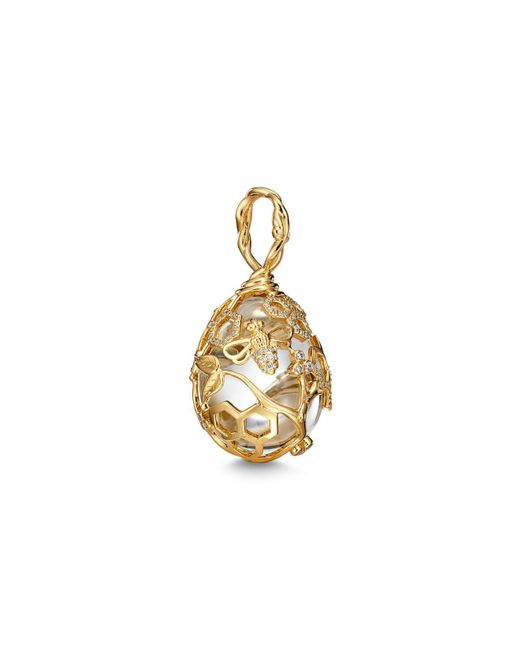 Temple St. Clair - Metallic 18k Yellow Gold Beehive Rock Crystal & Diamond Amulet - Lyst