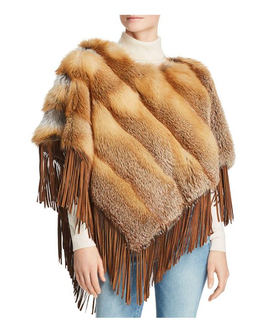 Maximilian - Multicolor Suede-trim Red Fox Fur Poncho - Lyst