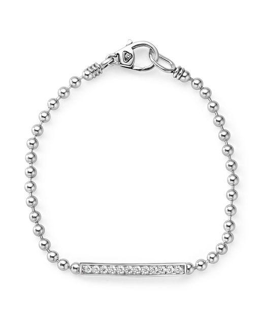 Lagos - Metallic Sterling Silver Caviar Spark Diamond Bar Chain Bracelet - Lyst