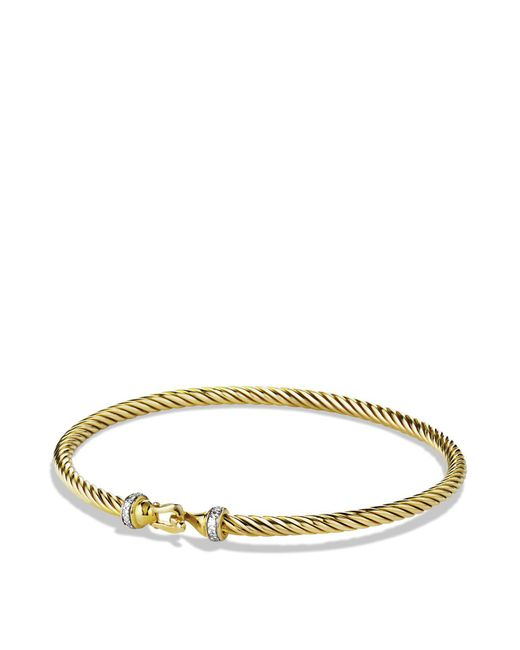 David Yurman | Yellow Cable Buckle Bracelet With Diamonds In Gold | Lyst