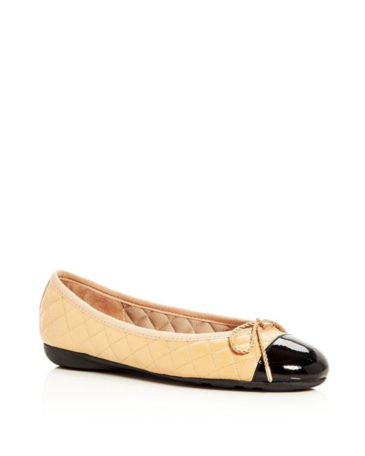 Paul Mayer - Black Best Quilted Leather Patent Cap Toe Ballet Flats - Lyst