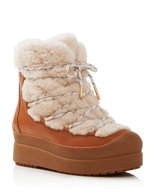 Tory Burch - Natural Women's Courtney Round Toe Leather & Shearling Booties - Lyst