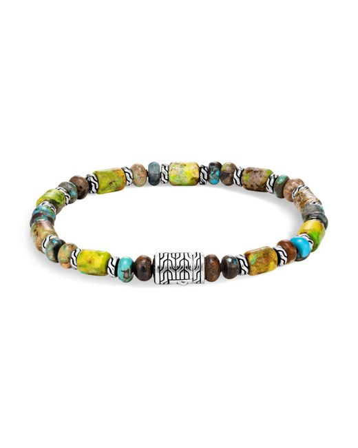 John Hardy | Metallic Sterling Silver Classic Chain Mixed Turquoise Bead Bracelet | Lyst