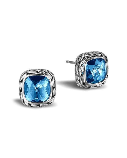 John Hardy - Classic Chain Stud Earrings With London Blue Topaz - Lyst