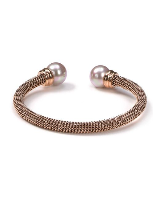 Majorica - Pink Stainless Steel And Nuage Simulated Pearl Cuff - Lyst