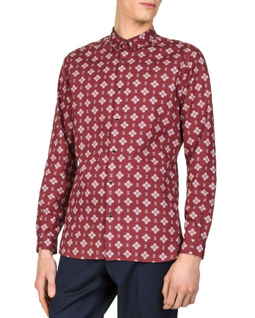The Kooples - Red Paisley Pop Slim Fit Button-down Shirt for Men - Lyst