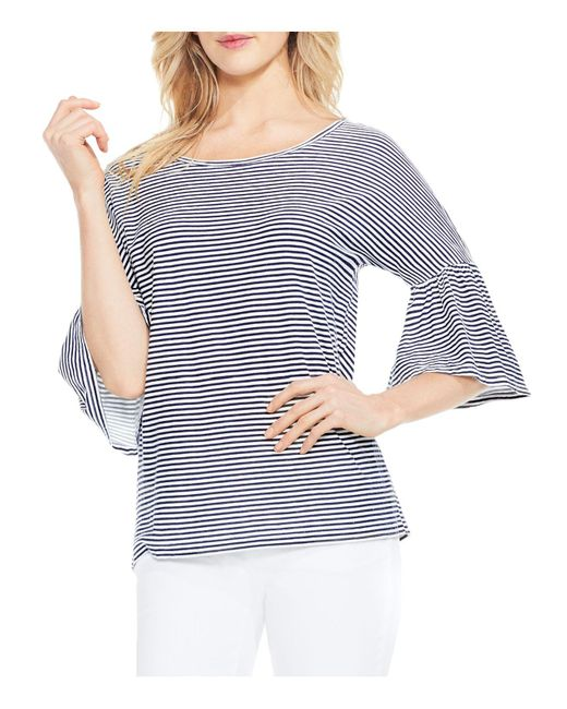 Vince Camuto | Blue Charter Mini-stripe Bell Sleeve Top | Lyst