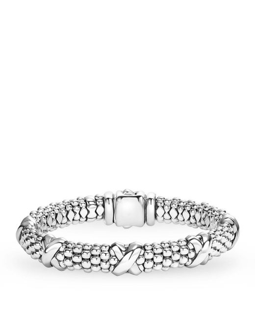 Lagos - Metallic Signature Sterling Silver X Station Caviar Bracelet - Lyst