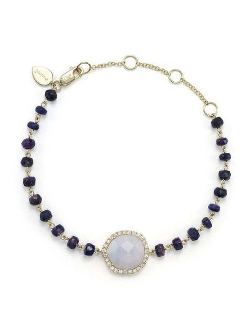 Meira T | Blue Lace Chalcedony And Sapphire Bead Bracelet With Diamonds | Lyst