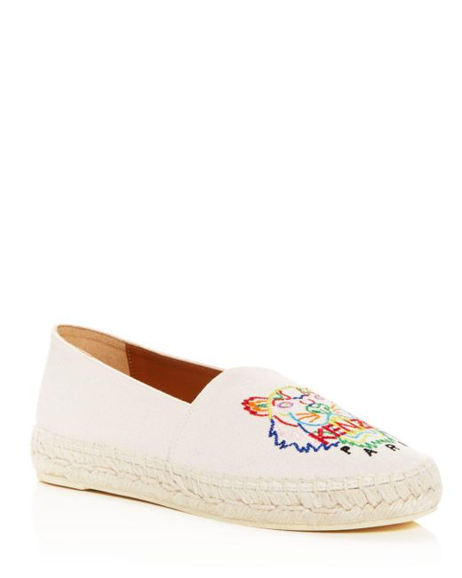 KENZO - White Women's Classic Tiger-embroidered Espadrille Flats - Lyst