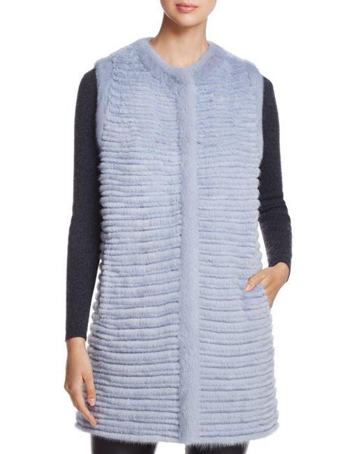 Maximilian - Blue Sheared Fur Vest - Lyst