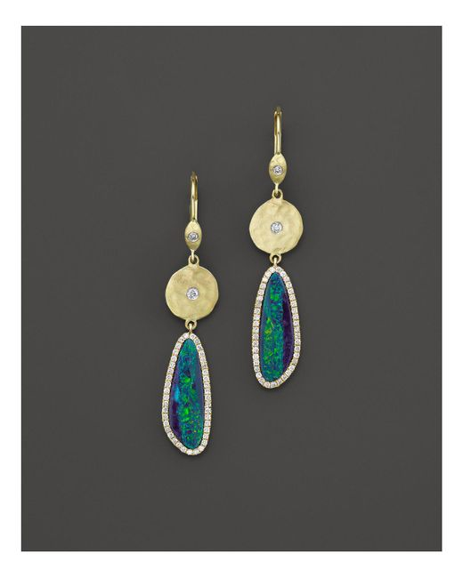 Meira T - Multicolor 14k Yellow Gold Opal Elongated Earrings - Lyst