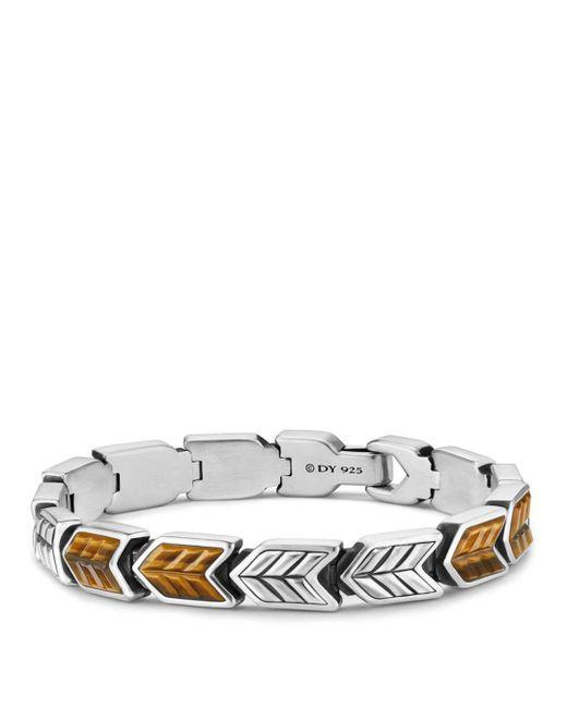 David Yurman - Metallic Chevron Link Bracelet With Tiger's Eye for Men - Lyst
