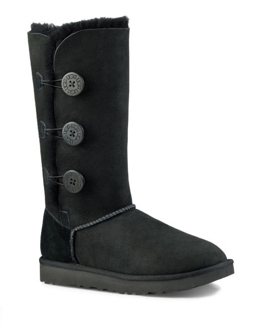 Ugg - Black Bailey Button Triplet Sheepskin Mid Calf Boots - Lyst