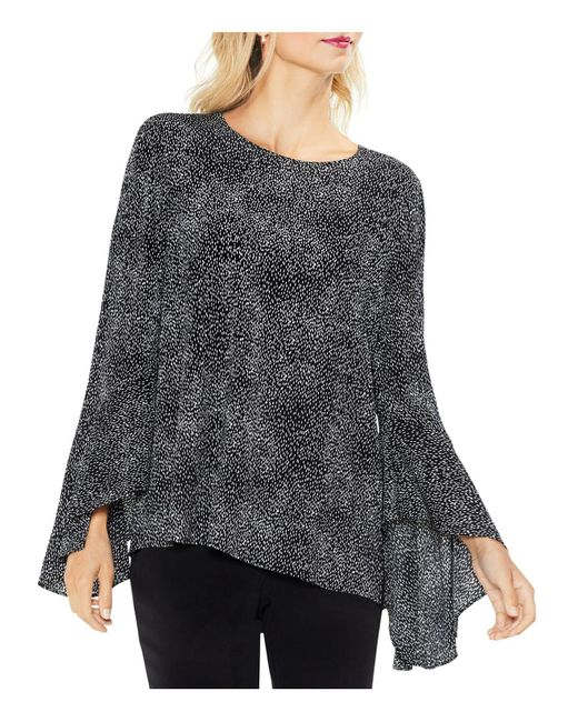 Vince Camuto - Black Dash Print Bell Sleeve Blouse - Lyst