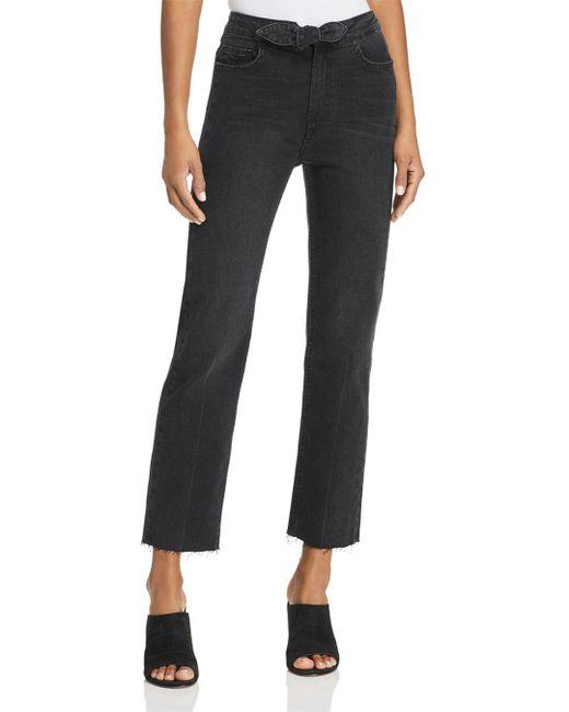 PAIGE - Black Margot Tie-front Straight Jeans In Film Noir - Lyst