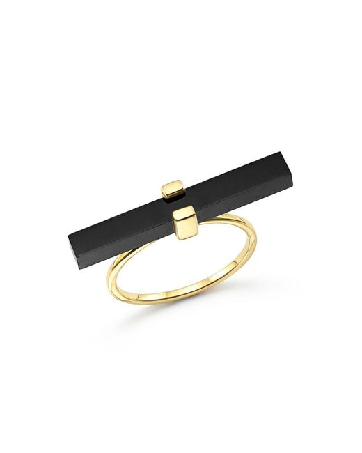 Mateo - 14k Yellow Gold Cross Bar Ring With Black Onyx - Lyst