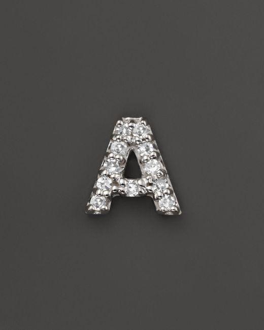 KC Designs - Diamond Initial Stud Earring In 14k White Gold - Lyst