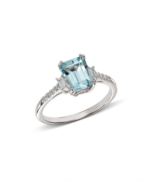 Bloomingdale's - Multicolor Emerald-cut Aquamarine & Diamond Baguette Ring In 14k White Gold - Lyst