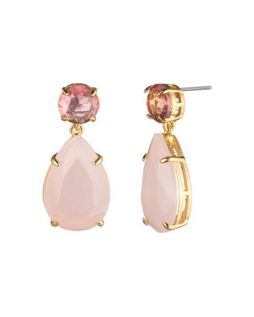 Carolee - Pink Round & Pear Double Drop Earrings - Lyst