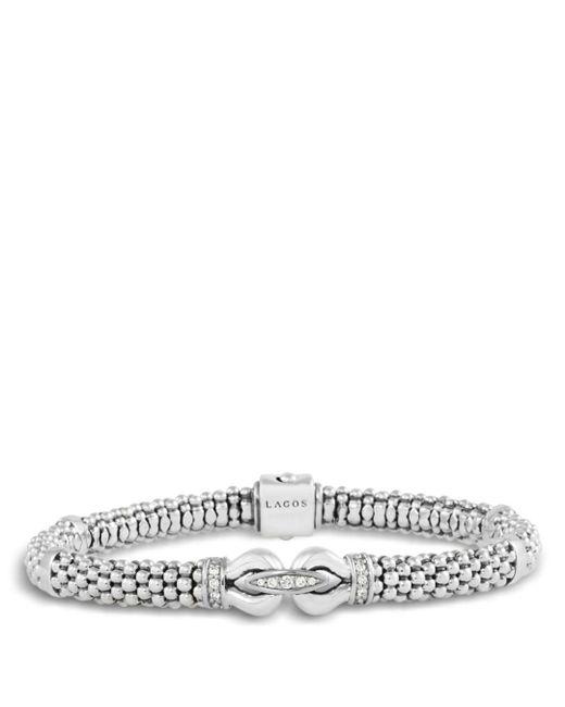 Lagos - Metallic Derby Sterling Silver Bracelet With Diamonds - Lyst