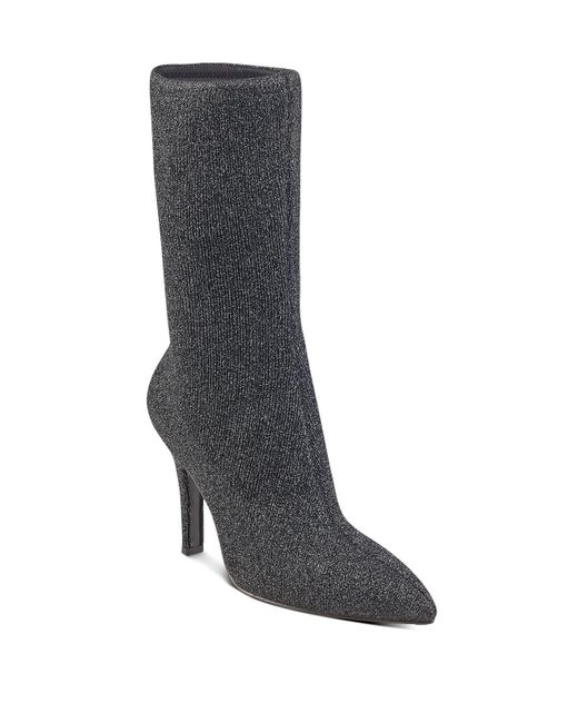 Marc Fisher | Black Unita Sparkle Knit High Heel Mid Calf Boots | Lyst