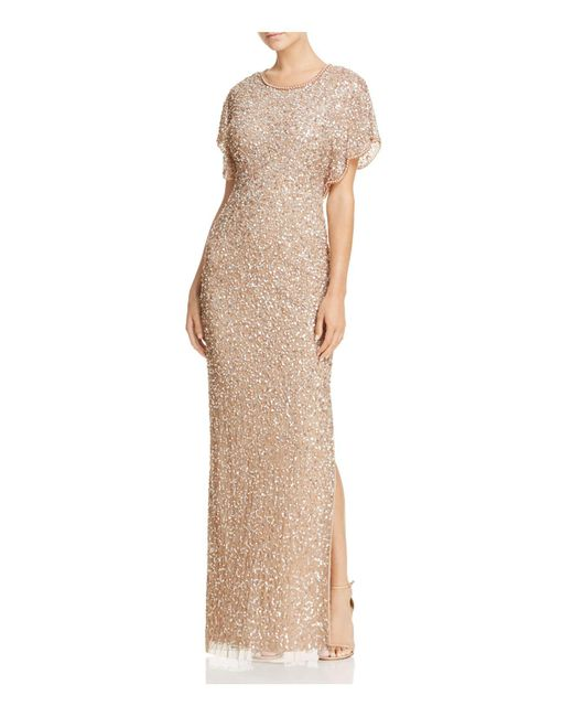 Adrianna Papell | Metallic Embellished Flutter-sleeve Gown | Lyst