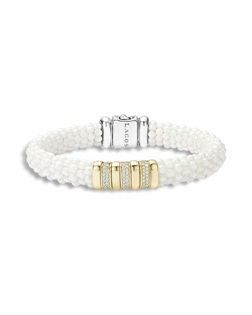 Lagos | Metallic White Caviar Ceramic And 18k Gold Station Bracelet With Diamonds | Lyst