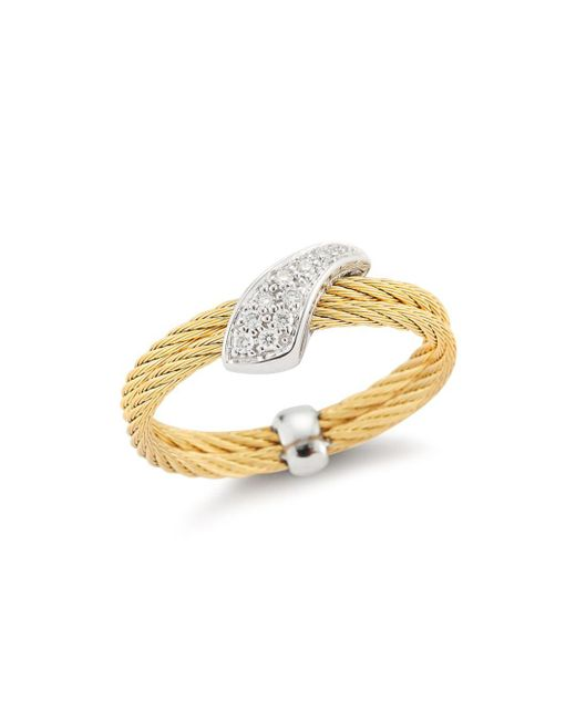 Alor - Metallic Braided Diamond Ring - Lyst