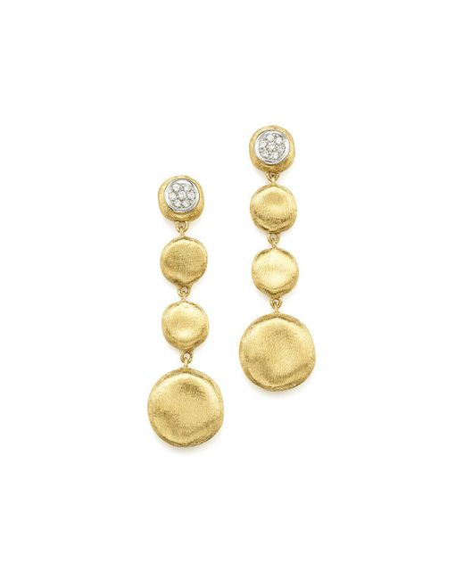 Marco Bicego | Multicolor Pavé Diamond Jaipur Drop Earrings In 18k White & Yellow Gold | Lyst