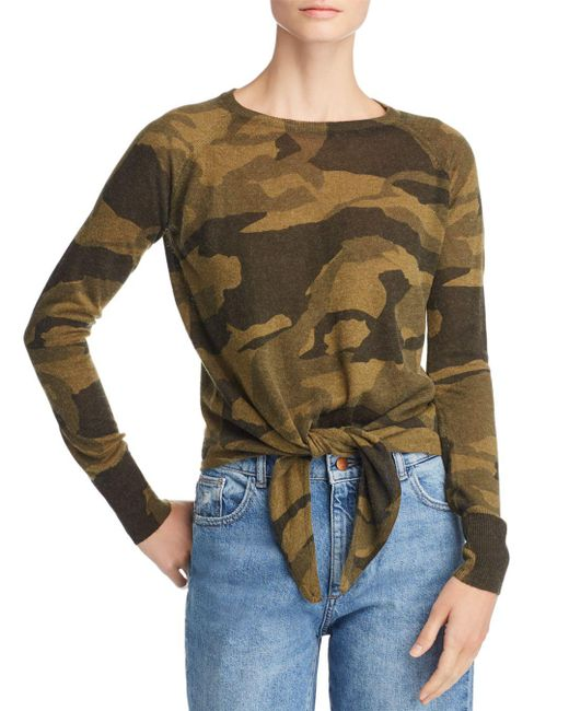 Olivaceous - Green Camo Long Sleeve Tie-front Top - Lyst
