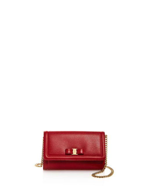 Ferragamo - Red Miss Vara Score Leather Mini Bag - Lyst