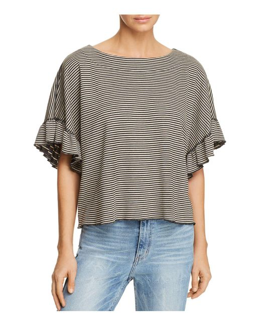 Ella Moss - Black Reversible Striped Cropped Top - Lyst