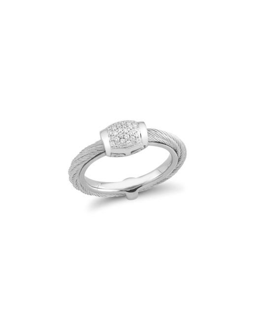 Alor - Metallic Diamond Grey Cable Ring - Lyst
