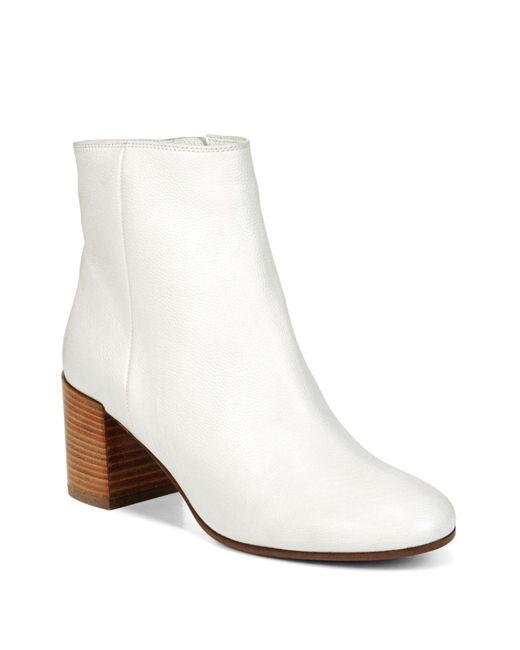 Vince - White Blakely Leather Block Heel Booties - Lyst