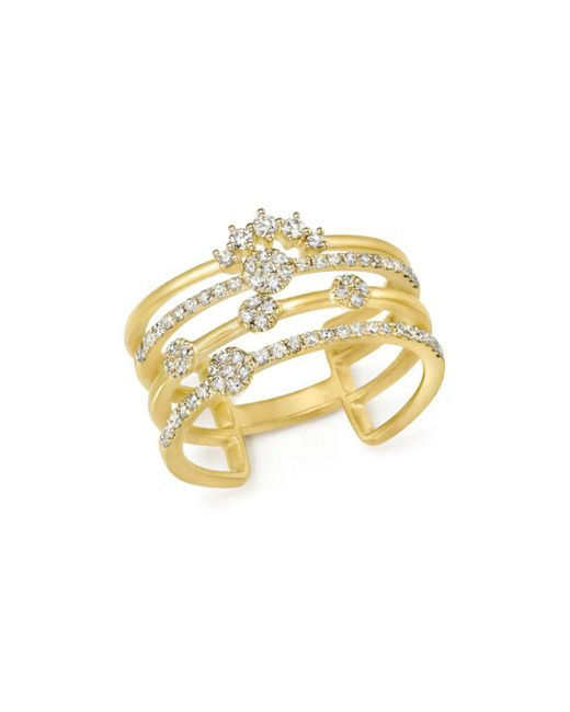Meira T - Metallic 14k Yellow Gold Four Band Diamond Ring - Lyst